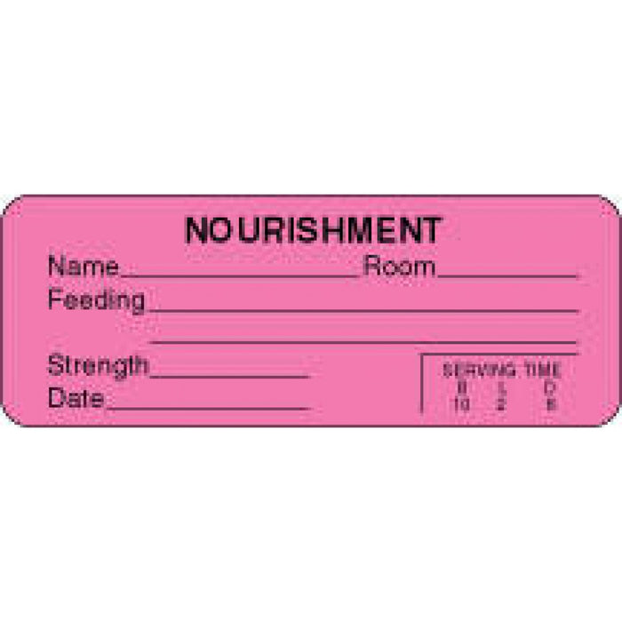 "Label Paper Permanent Nourishment Name 3"" X 1 1/8"" Fl. Pink 1000 Per Roll"
