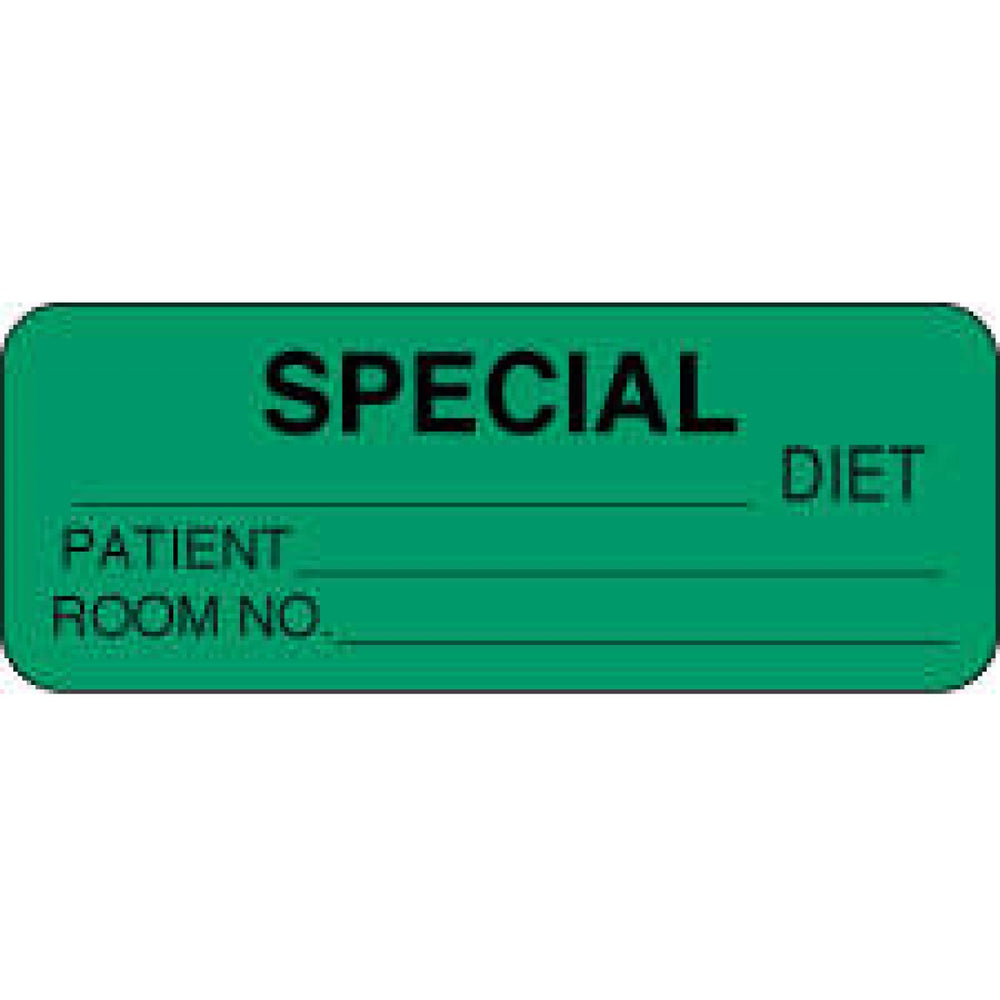 "Label Paper Permanent Special ___ Diet 2 1/4"" X 7/8"" Dark Green 1000 Per Roll"