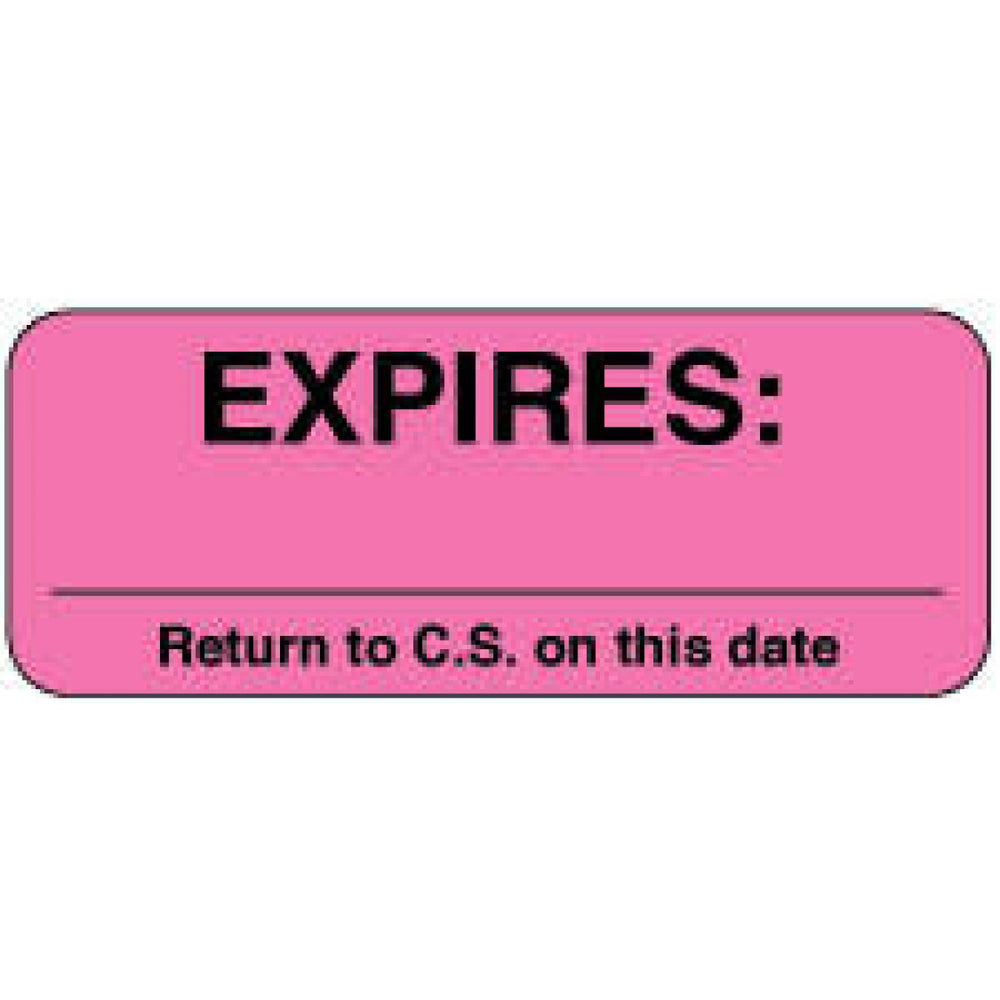 "Label Paper Removable Expires: ___ 2 1/4"" X 7/8"" Fl. Pink 1000 Per Roll"