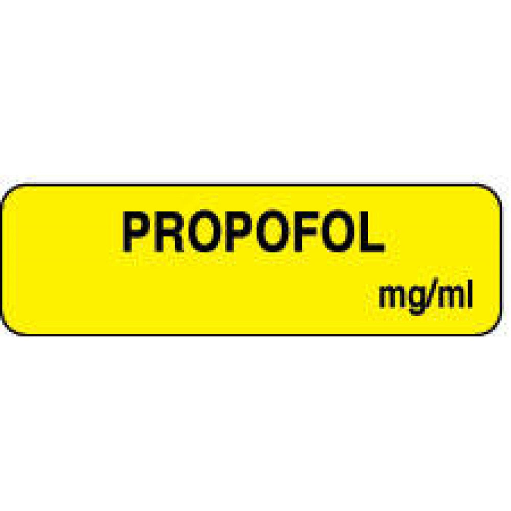 "Anesthesia Label Paper Permanent Propofol Mg/Ml 1 1/4"" X 3/8"" Yellow 1000 Per Roll"