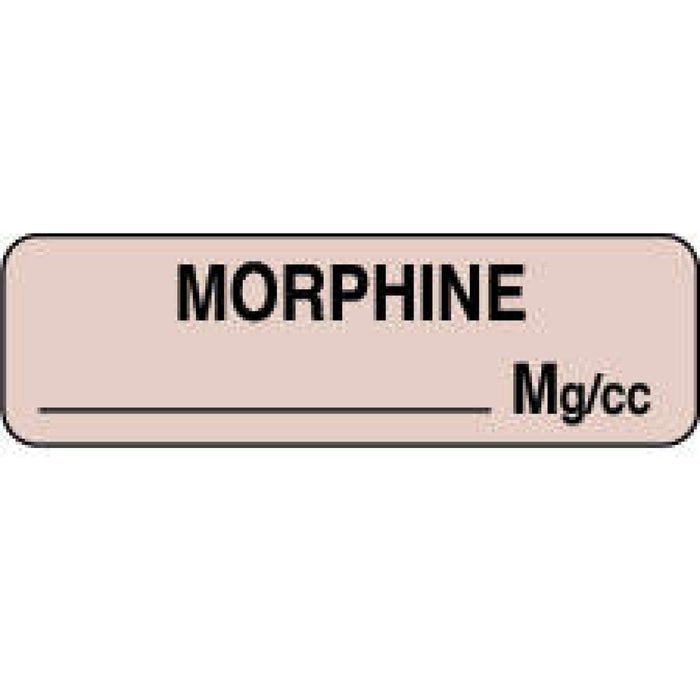 "Anesthesia Label Paper Permanent Morphine Mg/Ml 1 1/4"" X 3/8"" Tan 1000 Per Roll"