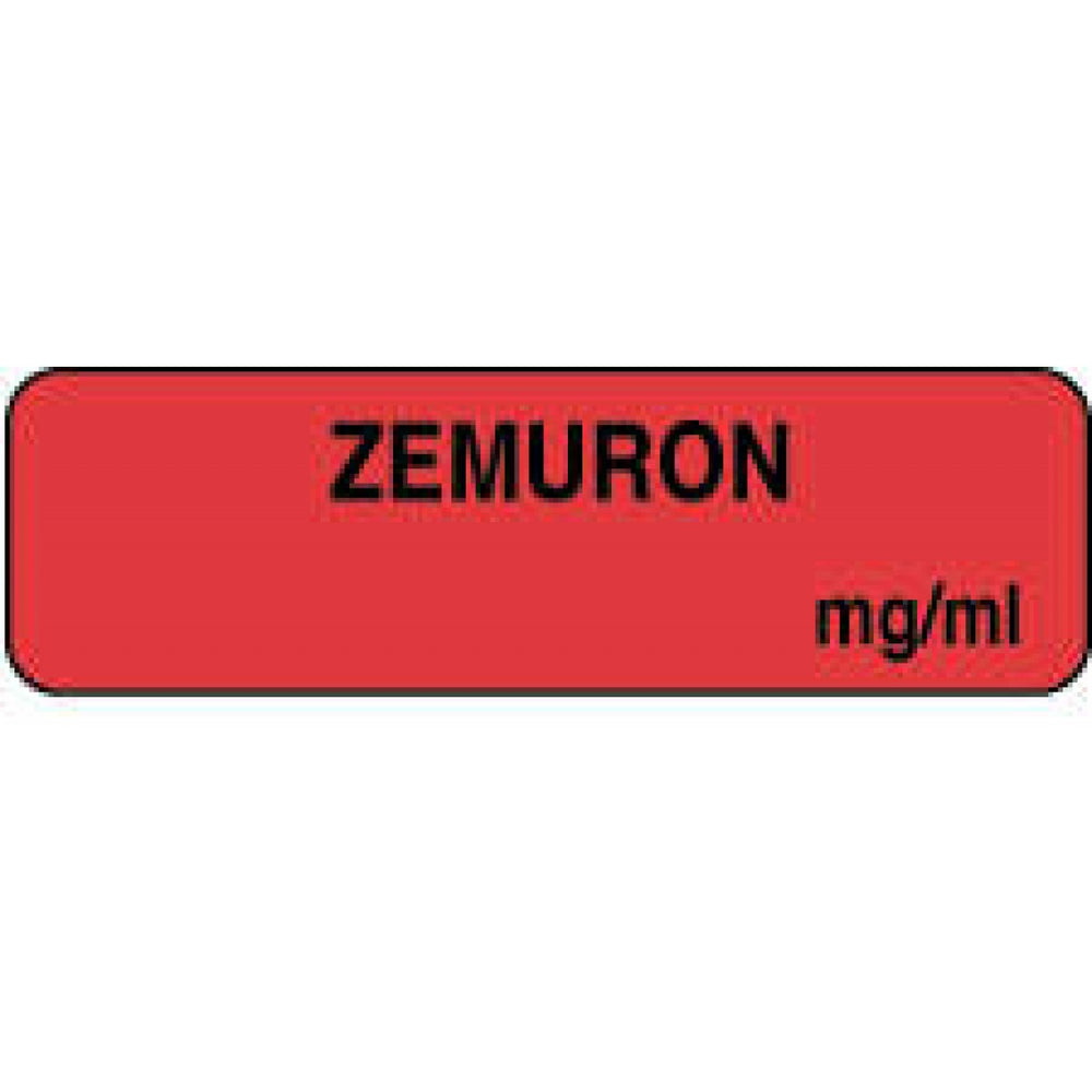 "Anesthesia Label Paper Permanent Zemuron Mg/Ml 1 1/4"" X 3/8"" Fl. Red 1000 Per Roll"