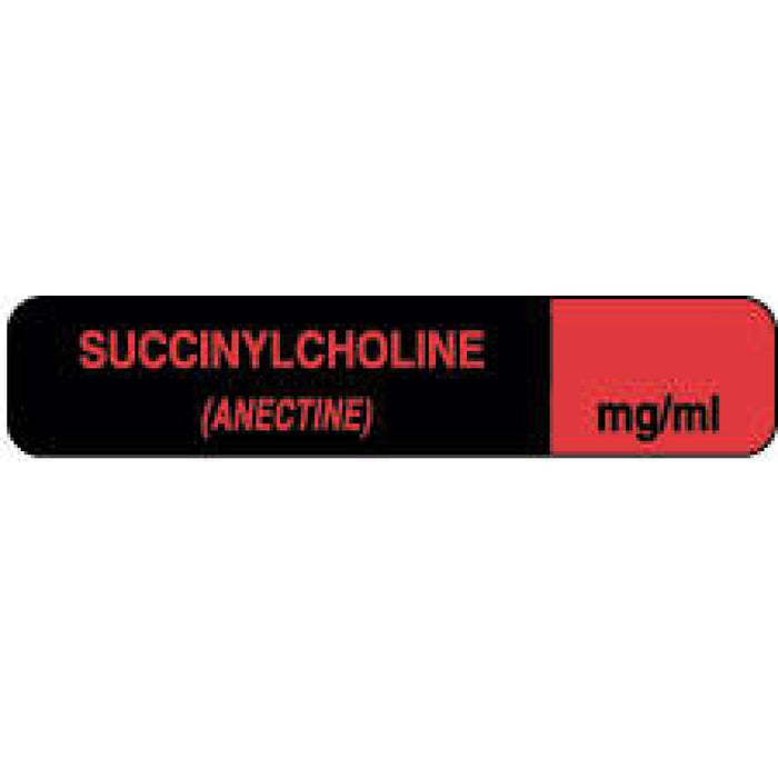 "Anesthesia Label Paper Permanent Succinylcholine 1 1/2"" X 1/3"" Fl. Red And Black 1000 Per Roll"