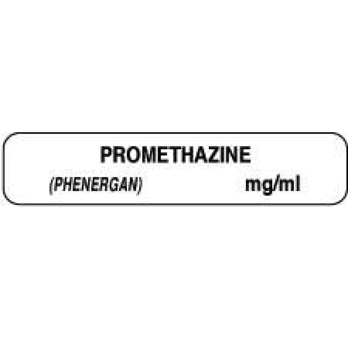"Anesthesia Label Paper Permanent Promethazine 1 1/2"" X 1/3"" White 1000 Per Roll"