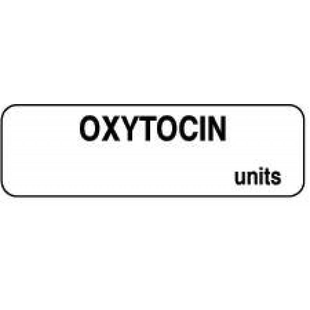 "Anesthesia Label Paper Permanent Oxytocin Units 1 1/4"" X 3/8"" White 1000 Per Roll"