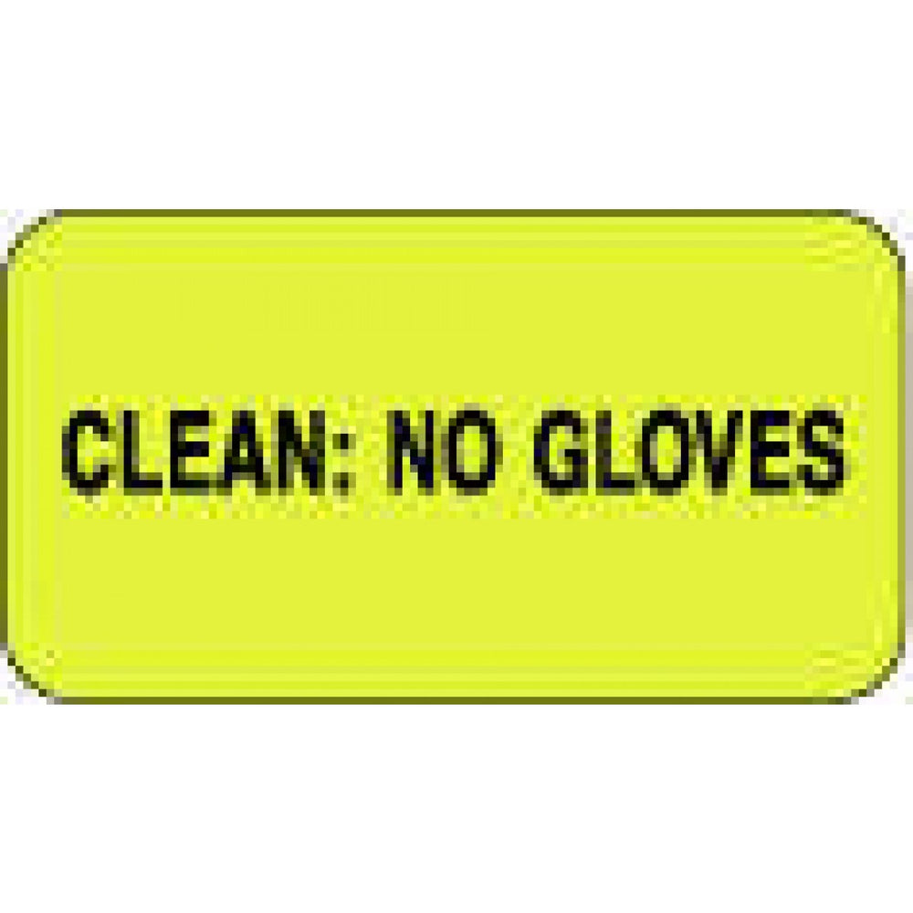 "Label Paper Permanent Clean: No Gloves 1 5/8"" X 7/8"" Fl. Yellow 1000 Per Roll"