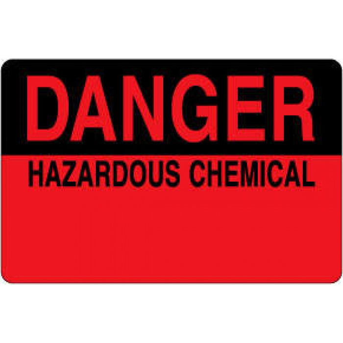 "Label Paper Permanent Danger Hazardous 1 1/2"" Core 4"" X 2 5/8"" Fl. Red And Black 500 Per Roll"