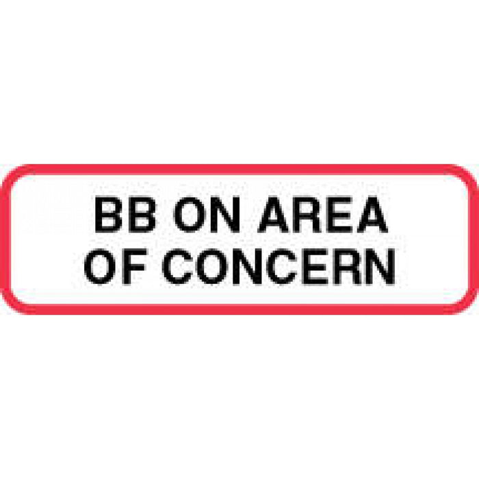 "Label Paper Permanent Bb On Area Of Concern 1 1/4"" X 3/8"" White With Red 1000 Per Roll"