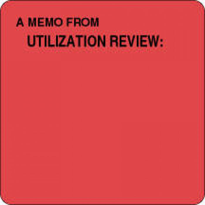 "Label Paper Removable A Memo From Utilization 2 1/2"" X 2 1/2"" Fl. Red 500 Per Roll"