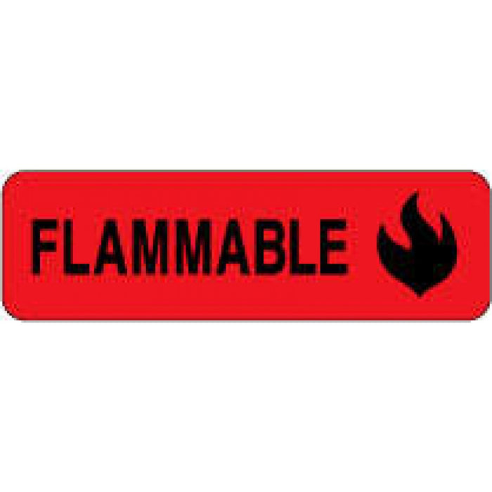 "Label Paper Permanent Flammable 2 7/8"" X 7/8"" Fl. Red 1000 Per Roll"