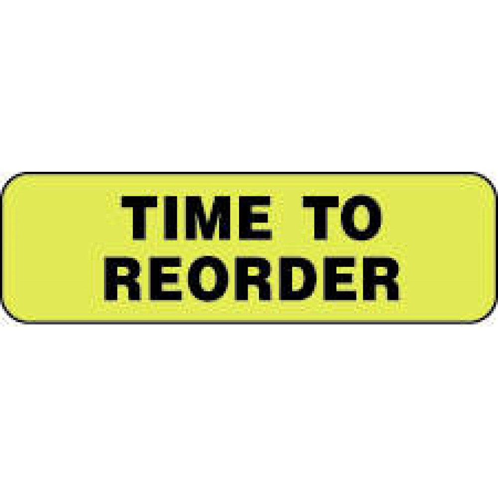 "Label Paper Permanent Time To Reorder 1 1/4"" X 3/8"" Fl. Yellow 1000 Per Roll"