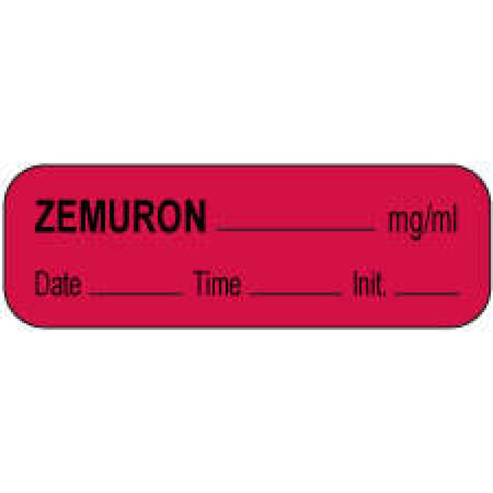 "Anesthesia Label With Date, Time, And Initial Paper Permanent Zemuron Mg/Ml 1 1/2"" X 1/2"" Fl. Red 1000 Per Roll"
