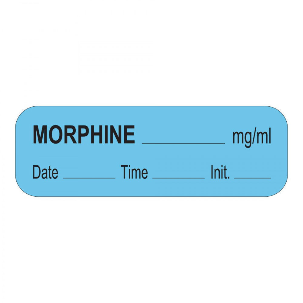 "Anesthesia Label With Date, Time, And Initial Paper Permanent Morphine Mg/Ml 1 1/2"" X 1/2"" Blue 1000 Per Roll"