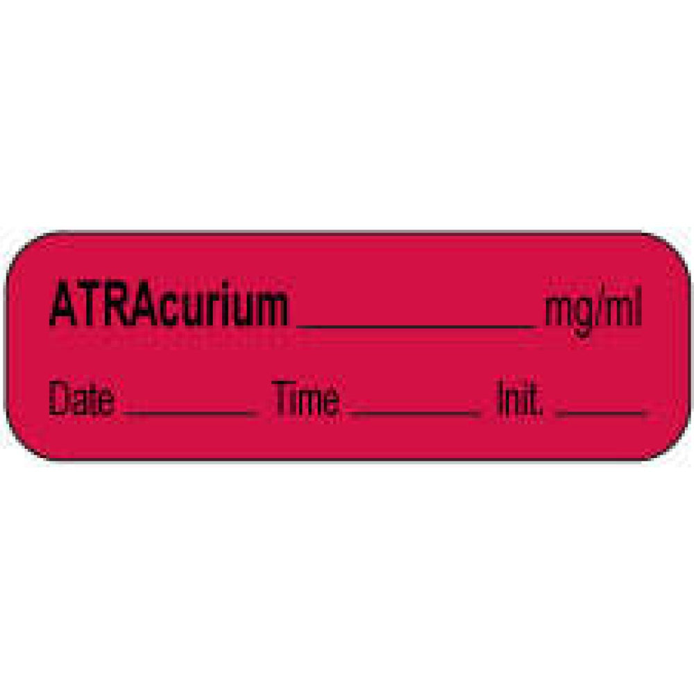 "Anesthesia Label With Date, Time, And Initial | Tall-Man Lettering Paper Permanent Atracurium Mg/Ml 1 1/2"" X 1/2"" Fl. Red 1000 Per Roll"