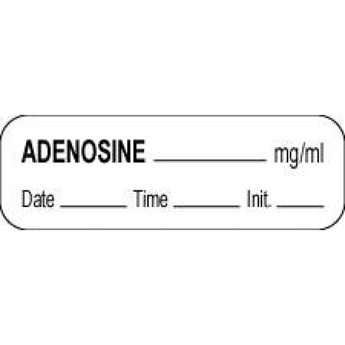 "Anesthesia Label With Date, Time, And Initial Paper Permanent Adenosine Mg/Ml 1 1/2"" X 1/2"" White 1000 Per Roll"