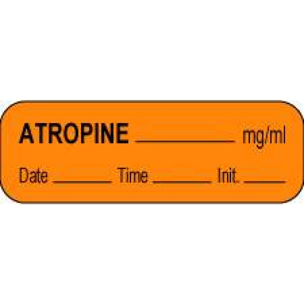 "Anesthesia Label With Date, Time, And Initial Paper Permanent Atropine Mg/Ml 1 1/2"" X 1/2"" Orange 1000 Per Roll"