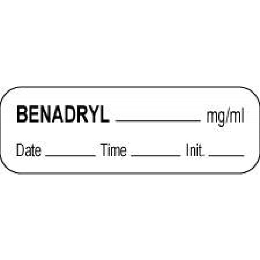 "Anesthesia Label With Date, Time, And Initial Paper Permanent Benadryl Mg/Ml 1 1/2"" X 1/2"" White 1000 Per Roll"