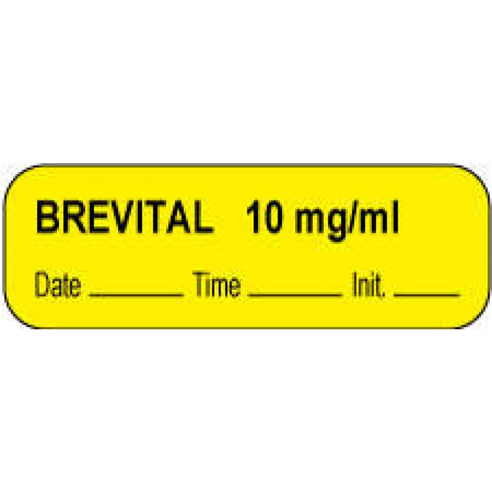 "Anesthesia Label With Date, Time, And Initial Paper Permanent Brevital 10 Mg/Ml 1 1/2"" X 1/2"" Yellow 1000 Per Roll"