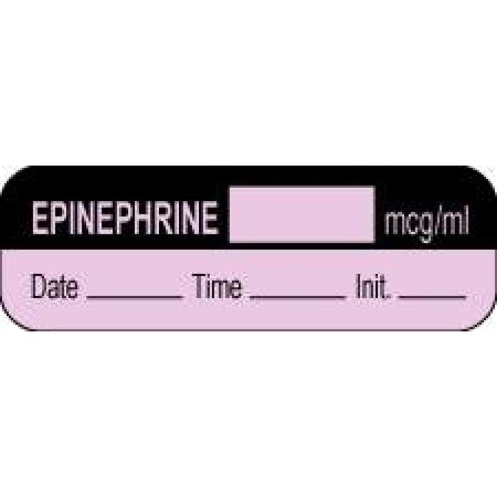 "Anesthesia Label With Date, Time, And Initial Paper Permanent Epinephrine Mcg/Ml 1 1/2"" X 1/2"" Violet And Black 1000 Per Roll"