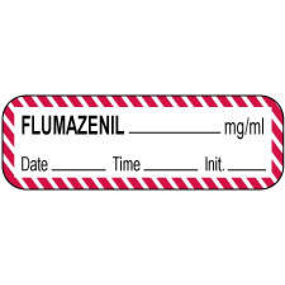 "Anesthesia Label With Date, Time, And Initial Paper Permanent Flumazenil Mg/Ml 1 1/2"" X 1/2"" White With Fl. Red 1000 Per Roll"
