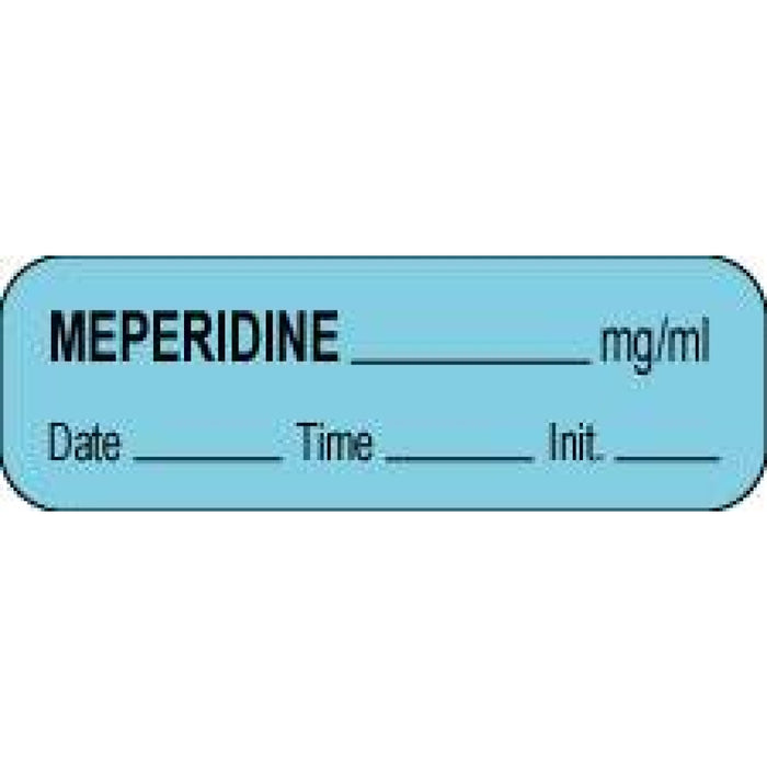 "Anesthesia Label With Date, Time, And Initial Paper Permanent Meperidine Mg/Ml 1 1/2"" X 1/2"" Blue 1000 Per Roll"