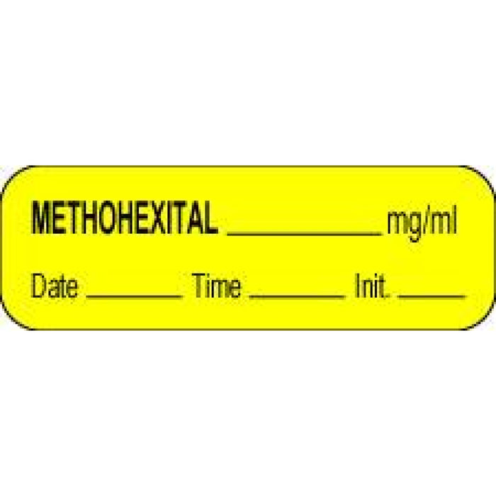 "Anesthesia Label With Date, Time, And Initial Paper Permanent Methohexital Mg/Ml 1 1/2"" X 1/2"" Yellow 1000 Per Roll"