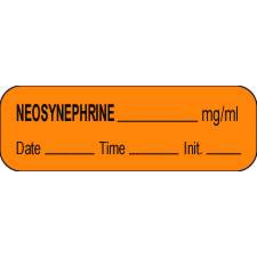 "Anesthesia Label With Date, Time, And Initial Paper Permanent Neosynephrine Mg/Ml 1 1/2"" X 1/2"" Orange 1000 Per Roll"