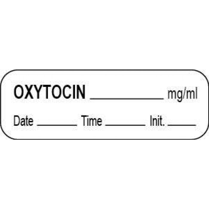 "Anesthesia Label With Date, Time, And Initial Paper Permanent Oxytocin Mg/Ml 1 1/2"" X 1/2"" White 1000 Per Roll"