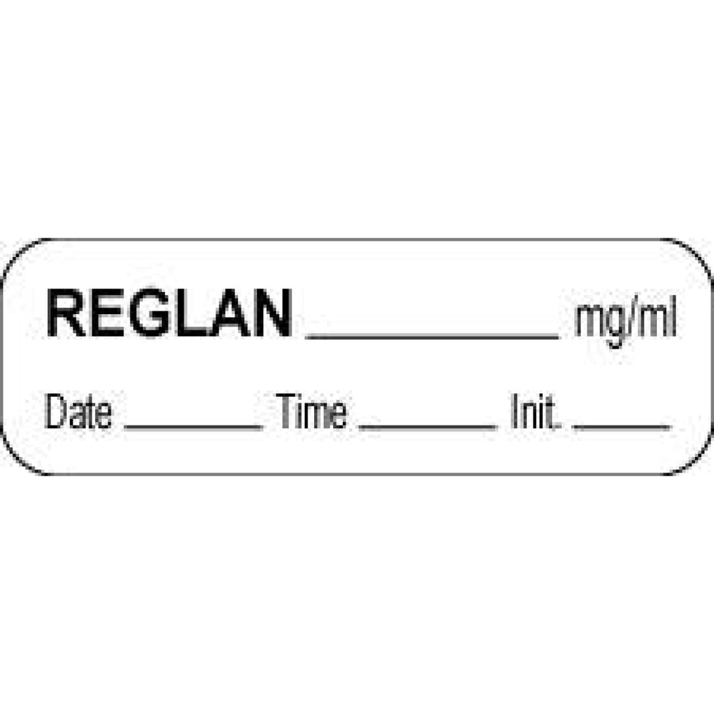 "Anesthesia Label With Date, Time, And Initial Paper Permanent Reglan Mg/Ml 1 1/2"" X 1/2"" White 1000 Per Roll"