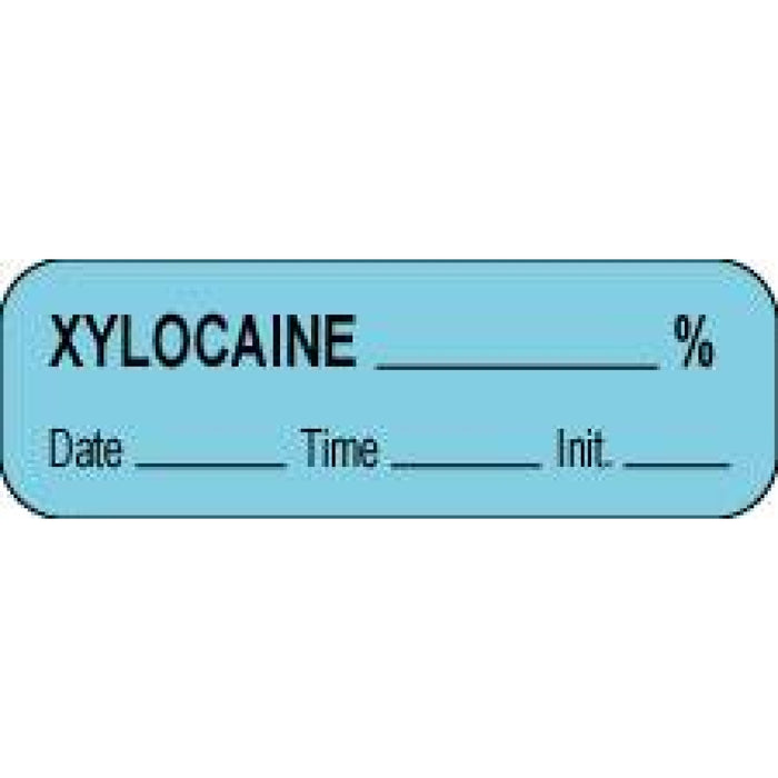 "Anesthesia Label With Date, Time, And Initial Paper Permanent Xylocaine % 1 1/2"" X 1/2"" Blue 1000 Per Roll"
