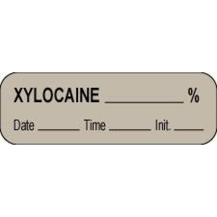 "Anesthesia Label With Date, Time, And Initial Paper Permanent Xylocaine % 1 1/2"" X 1/2"" Gray 1000 Per Roll"
