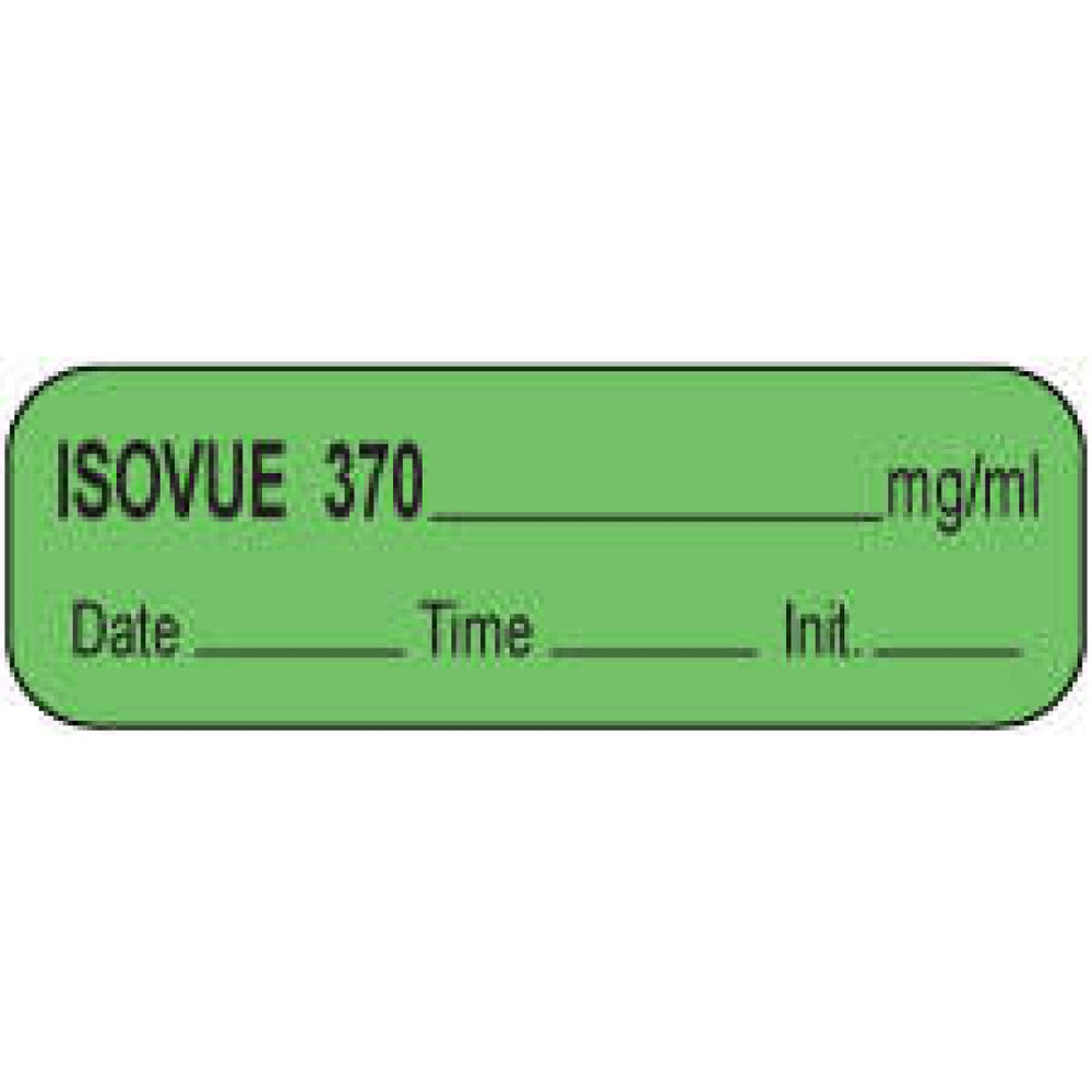"Anesthesia Label With Date, Time, And Initial Paper Permanent Isovue 370 Mg/Ml 1 1/2"" X 1/2"" Green 1000 Per Roll"