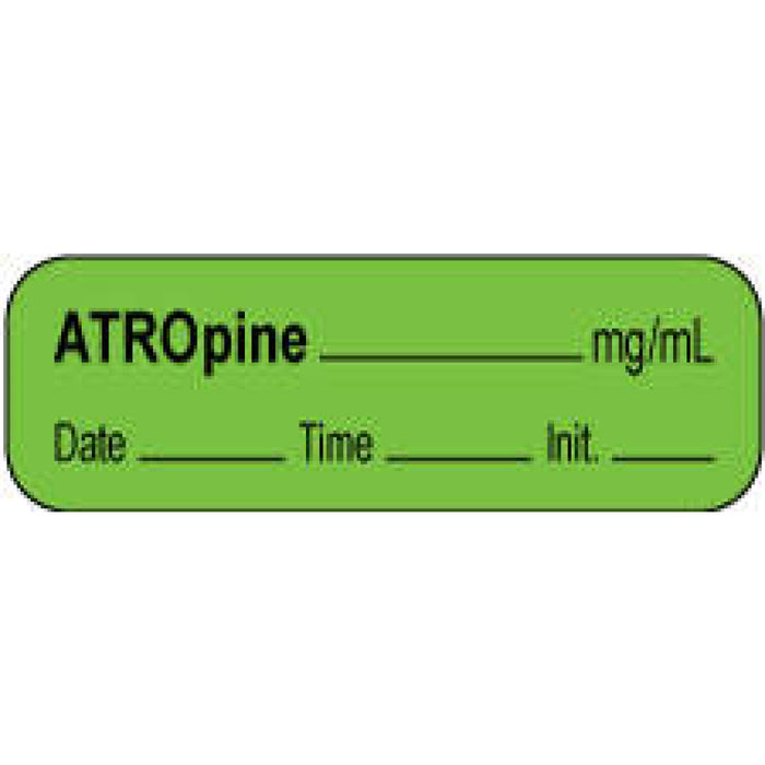 "Anesthesia Label With Date, Time, And Initial | Tall-Man Lettering Paper Permanent Atropine Mg/Ml 1 1/2"" X 1/2"" Green 1000 Per Roll"