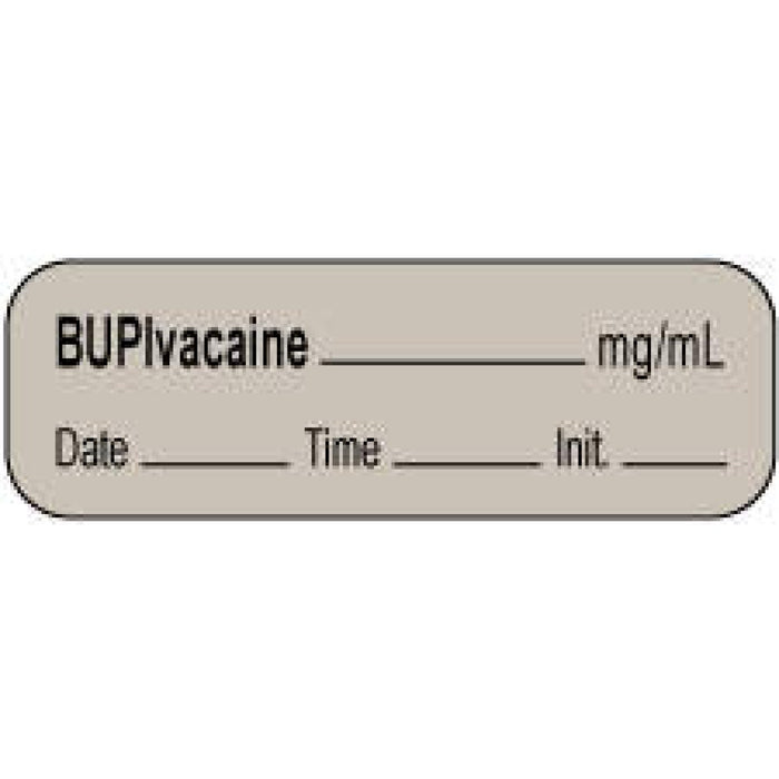 "Anesthesia Label With Date, Time, And Initial | Tall-Man Lettering Paper Permanent Bupivacaine Mg/Ml 1 1/2"" X 1/2"" Gray 1000 Per Roll"