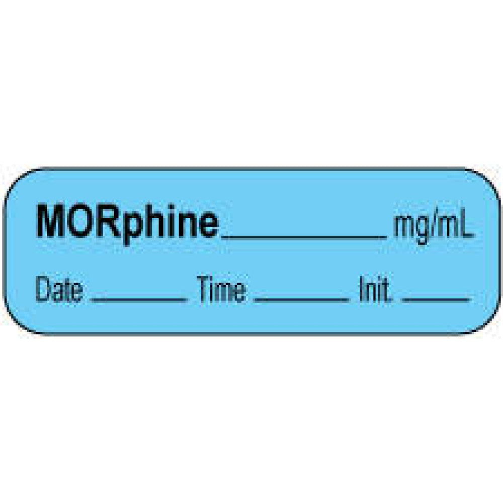 "Anesthesia Label With Date, Time, And Initial | Tall-Man Lettering Paper Permanent Morphine Mg/Ml 1 1/2"" X 1/2"" Blue 1000 Per Roll"
