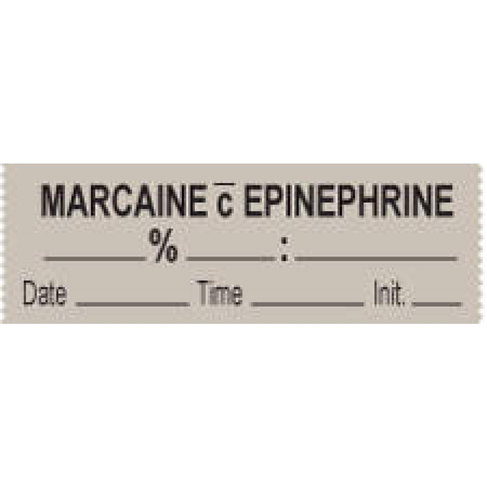 "Anesthesia Tape With Date, Time, And Initial Removable Marcaine C 1"" Core 1/2"" X 500"" Imprints Gray 333 500 Inches Per Roll"