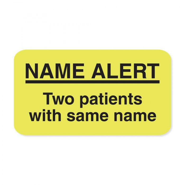 "Label Paper Removable Name Alert Two 1 5/8"" X 7/8"" Fl. Yellow 1000 Per Roll"