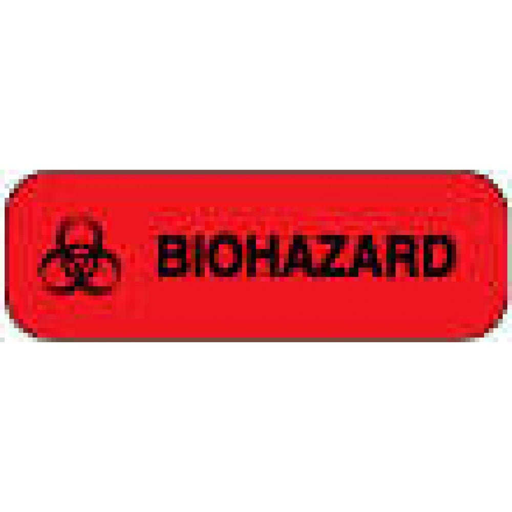 "Label Paper Permanent Biohazard 1 1/2"" X 1/2"" Fl. Red 1000 Per Roll"