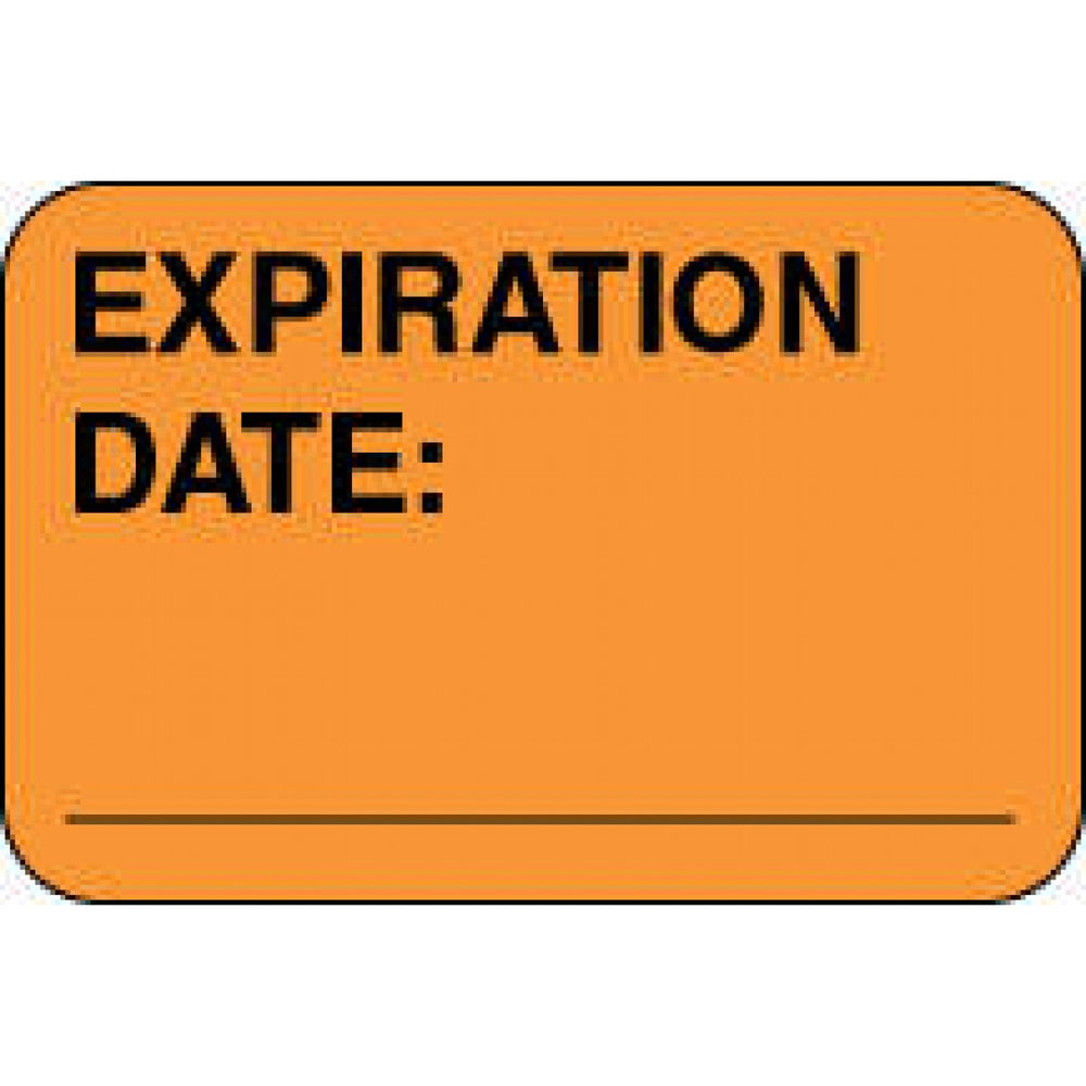 "Label Paper Permanent Expiration Date: 1 5/8"" X 7/8"" Fl. Orange 1000 Per Roll"
