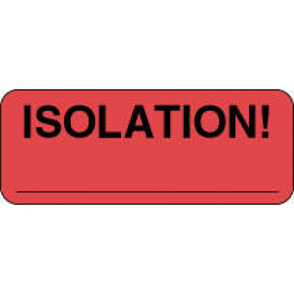 "Label Paper Permanent Isolation! 2 1/4"" X 7/8"" Fl. Red 1000 Per Roll"