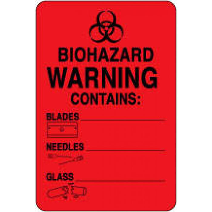 "Label Paper Permanent Biohazard Warning 2"" X 3"" Fl. Red 500 Per Roll"