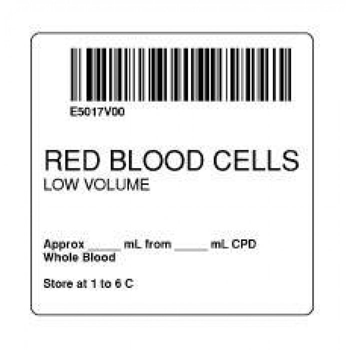 "Label Isbt 128 Synthetic Permanent ""Red Blood Cells'' Core 2"" X 2"" White 500 Per Roll"