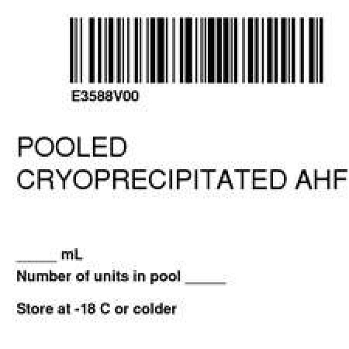 "Label Isbt 128 Synthetic Permanent ""Pooled Cryoprecipitated'' Core 2"" X 2"" White 500 Per Roll"