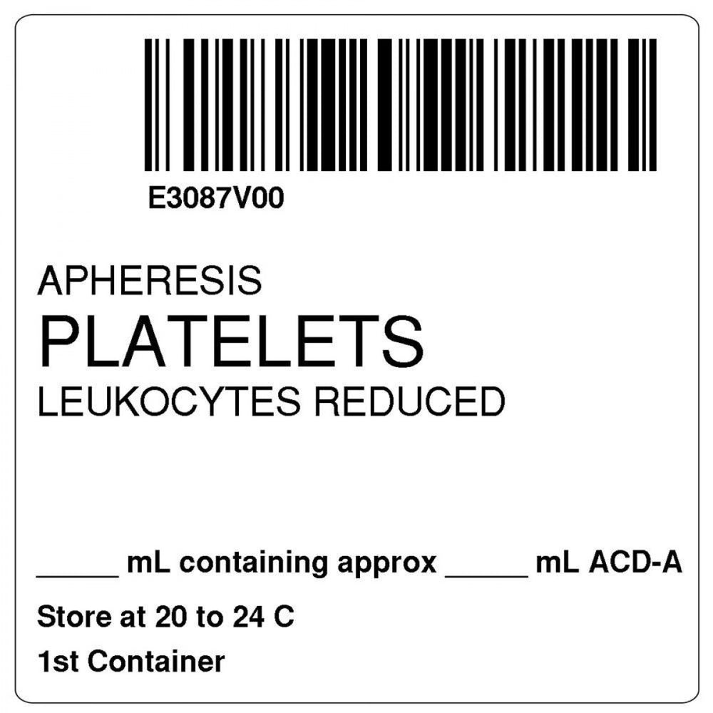 "Label Isbt 128 Synthetic Permanent ""Apheresis Platelets'' Core 2"" X 2"" White 500 Per Roll"