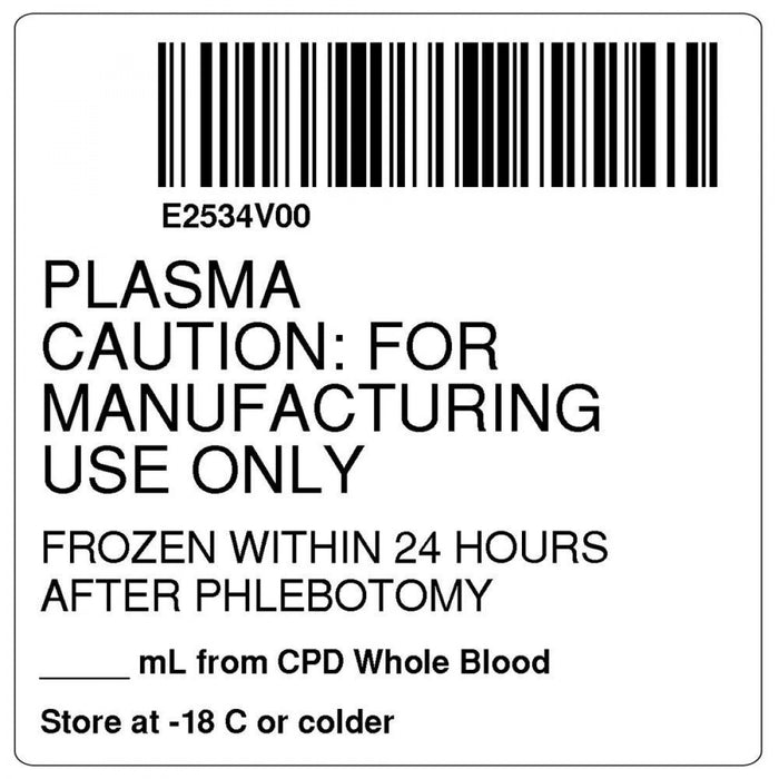"Label Isbt 128 Synthetic Permanent ""Plasma Caution:'' Core 2"" X 2"" White 500 Per Roll"
