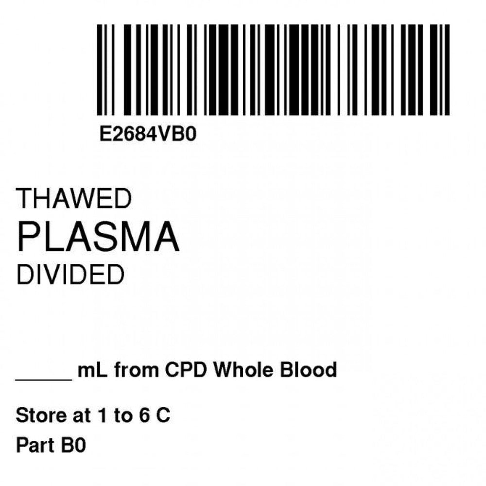 "Label Isbt 128 Synthetic Permanent ""Thawed Plasma Div'' Core 2"" X 2"" White 500 Per Roll"