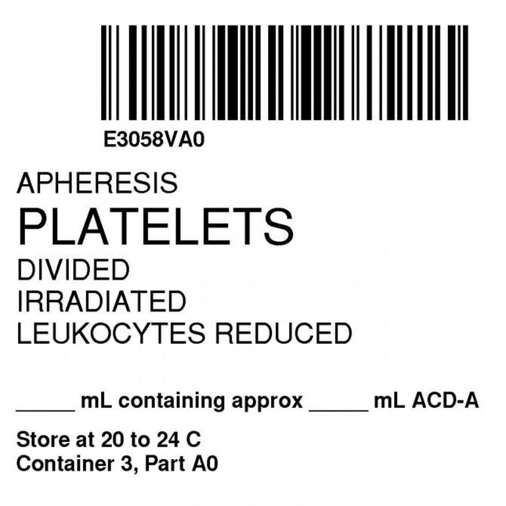 "Label Isbt 128 Synthetic Permanent ""Apheresis Platelets Div'' Core 2"" X 2"" White 500 Per Roll"