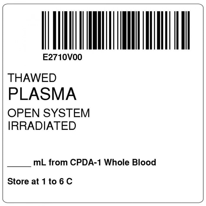 "Label, Isbt 128, Synthetic, Permanent, ""Thawed Plasma"", 2 X 2, White, 500 Per Roll"