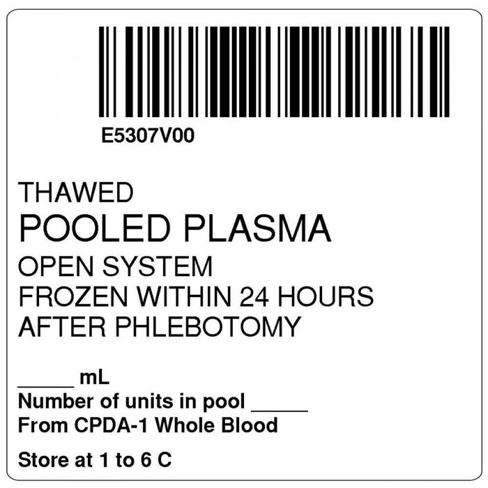 "Label, Isbt 128, Synthetic, Permanent, ""Thawed Pooled Plasma"", 2 X 2, White, 500 Per Roll"