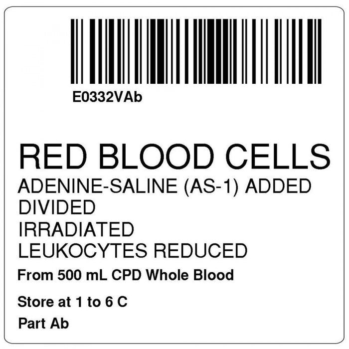 "Label, Isbt 128, Synthetic, Permanent, ""Red Blood Cells"", 2 X 2, White, 500 Per Roll"